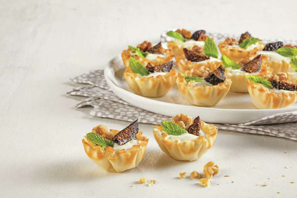 Fig and Walnut Yogurt Tarts. Beautiful yet simple tarts can be served as an appetizer or snack.