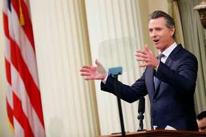 Gov. Gavin Newsom delivers the State of the State address at the California State Capitol on Tuesday, Feb. 12, 2019, in Sacramento.
