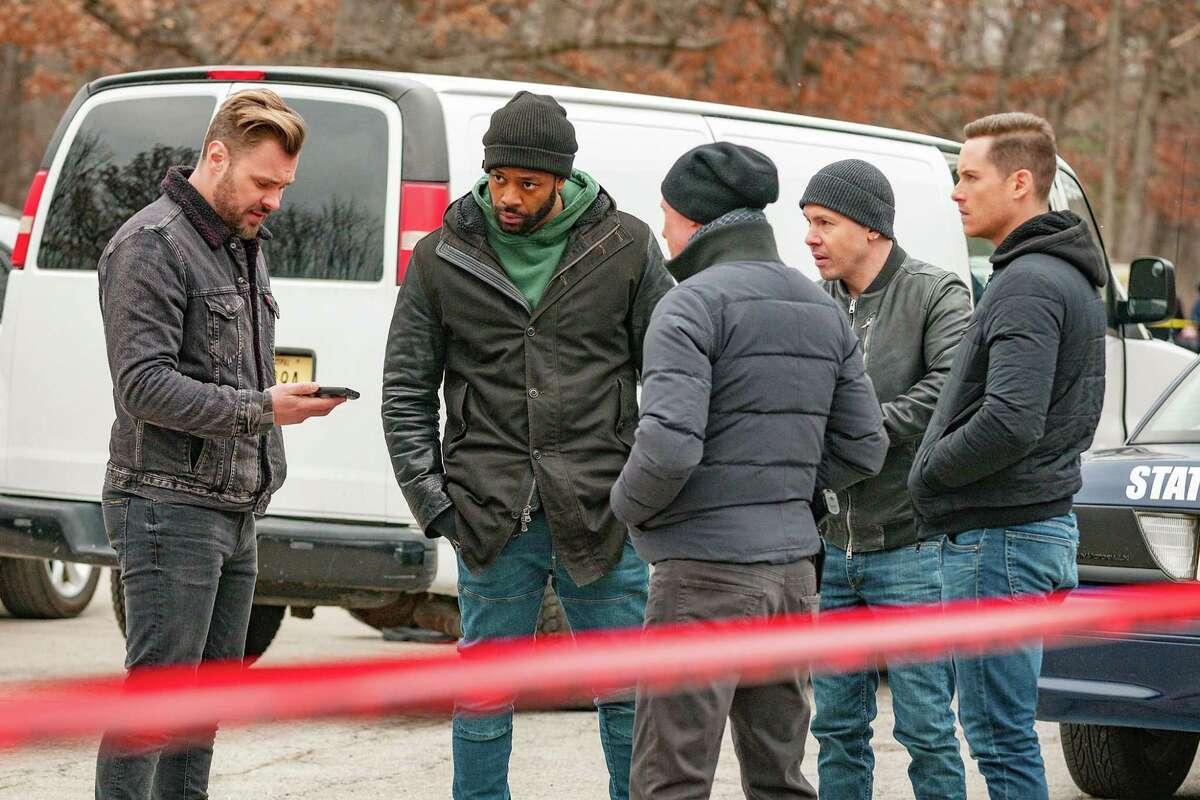 "CHICAGO P.D. -- ""Ties That Bind"" Episode 614 -- Pictured: (l-r) Patrick John Flueger as Adam Ruzek, LaRoyce Hawkins as Kevin Atwater, Jon Seda as Antonio Dawson, Jesse Lee Soffer as Jay Halstead -- (Photo by: Matt Dinerstein)"
