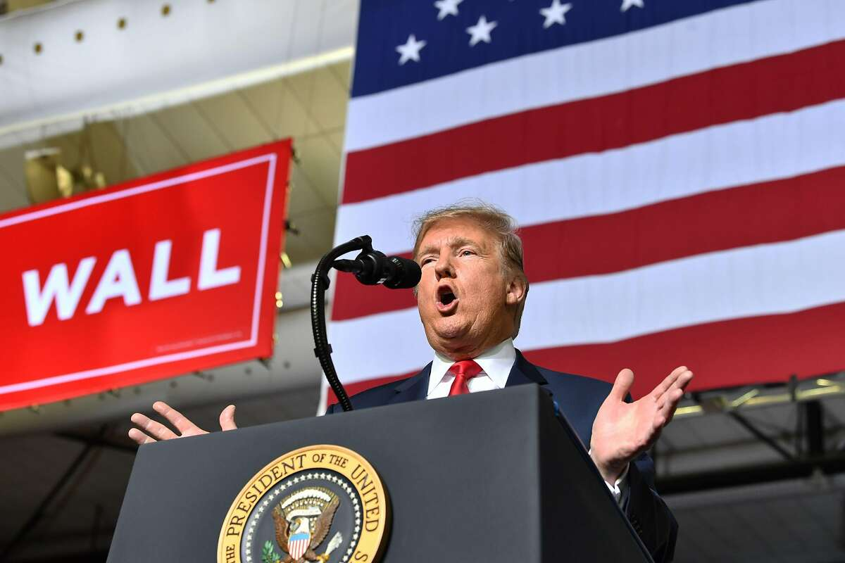 (FILES) In this file photo taken on February 11, 2019 US President Donald Trump speaks during a rally in El Paso, Texas. - US lawmakers reached a preliminary deal to provide some funding for President Donald Trump's Mexico border wall but waited February 11, 2019 to see if he accepts the compromise and cancels a threatened government shutdown. At nearly $1.4 billion for wall construction, the budget agreed by Republican and Democratic lawmakers was far less than the $5.7 billion that Trump wanted. (Photo by Nicholas Kamm / AFP)NICHOLAS KAMM/AFP/Getty Images