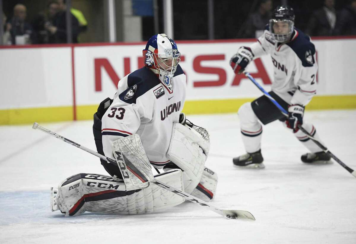 Connecticut's Tomas Vomacka during an NCAA hockey game on Wednesday, Jan. 16, 2019 in Hartford, Conn. (AP Photo/Jessica Hill)