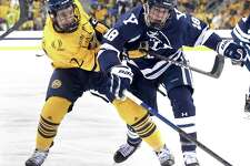 Action from the Yale vs. Quinnipiac ice hockey game in Hamden on February 8, 2019.