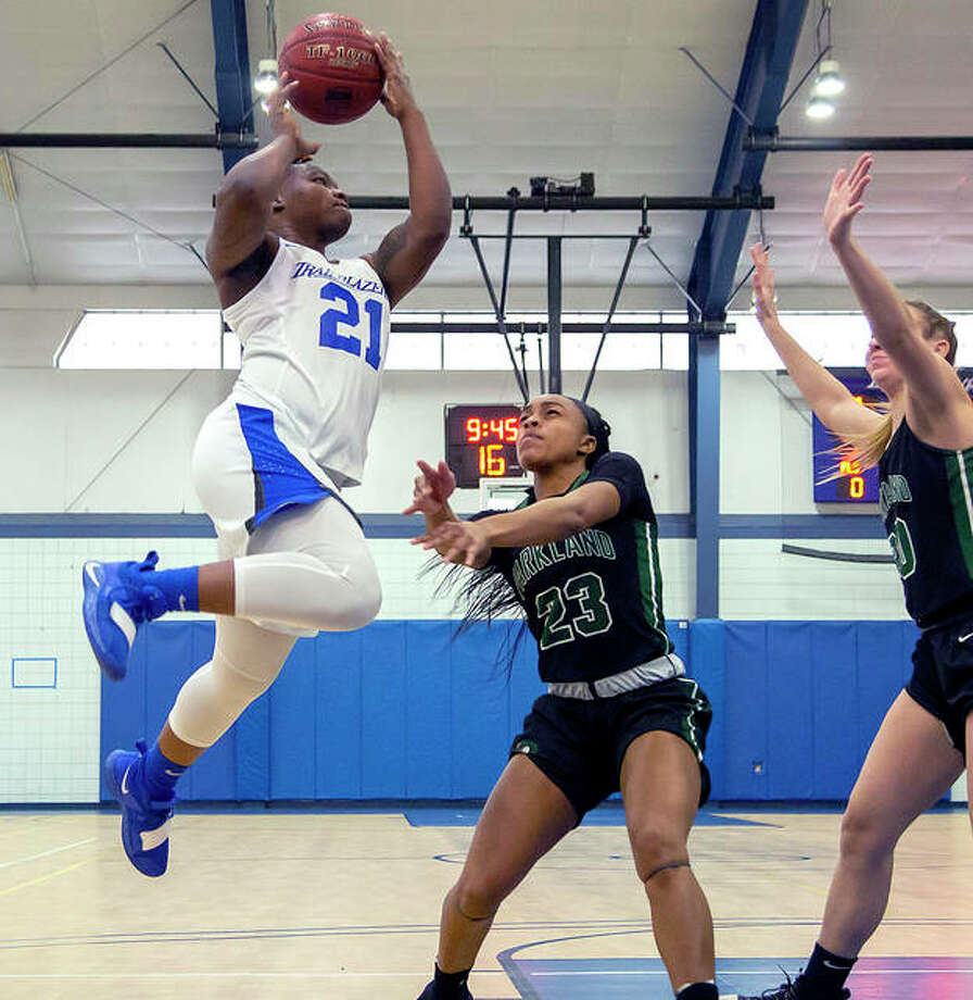 Juantia Walton of LCCC (21) scored five points in her team's Monday victory over Danville Area College at the River Bend Arena. She is shown in action Saturday against Parkland. Photo: Jan Dona | For The Telegraph