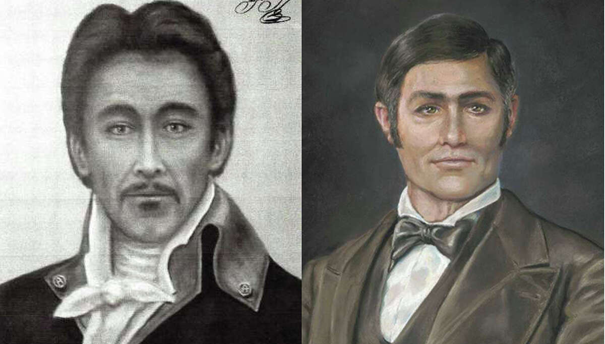 These images of Jose Miguel de Arciniega are involved in a lawsuit over which is more historically accurate. There are no existing photographs or paintings of Arciniega. The image on the left hangs in the state Capitol and was commissioned first; the image on the right was created later by a forensic artist.