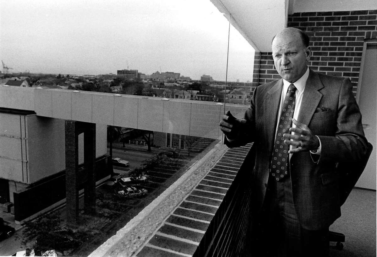 Sheriff Joe Max Taylor in lobby of jail on top of parking garage, the bridge to the 19th street jail in the background.