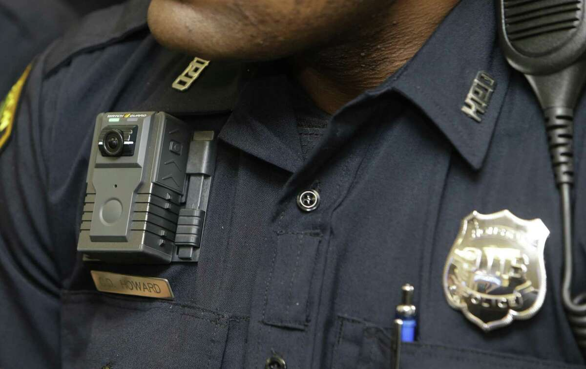 A Body-Worn Camera is shown on a Houston police officer during a media conference at HPD Central Patrol Station, 61 Riesner St., on April 14, 2016, in Houston.