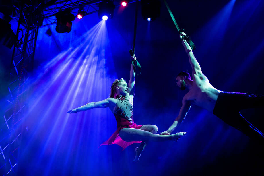 Morgaine Rosenthal and Danilo Fernandez on the aerial straps at Cirque Italia Photo: Justin Leitner