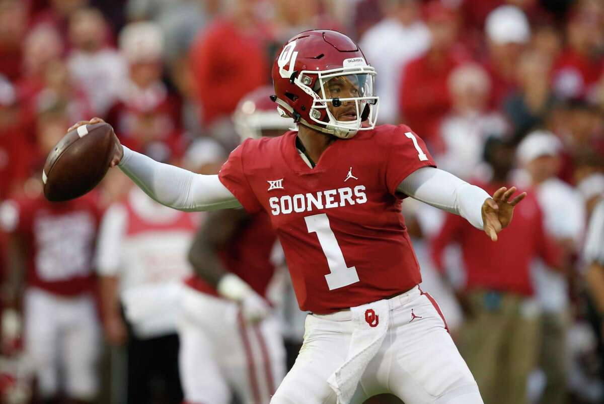 FILE - In this Sept. 22, 2018, file photo, Oklahoma quarterback Kyler Murray (1) throws in the first half of an NCAA college football game against Army, in Norman, Okla. Kyler Murray, the first-round Major League Baseball draft pick and Heisman Trophy-winning Oklahoma quarterback, says he is declaring himself eligible for the NFL draft. Murray announced his decision Monday, Jan. 14, 2019, in a tweet. (AP Photo/Sue Ogrocki, File)