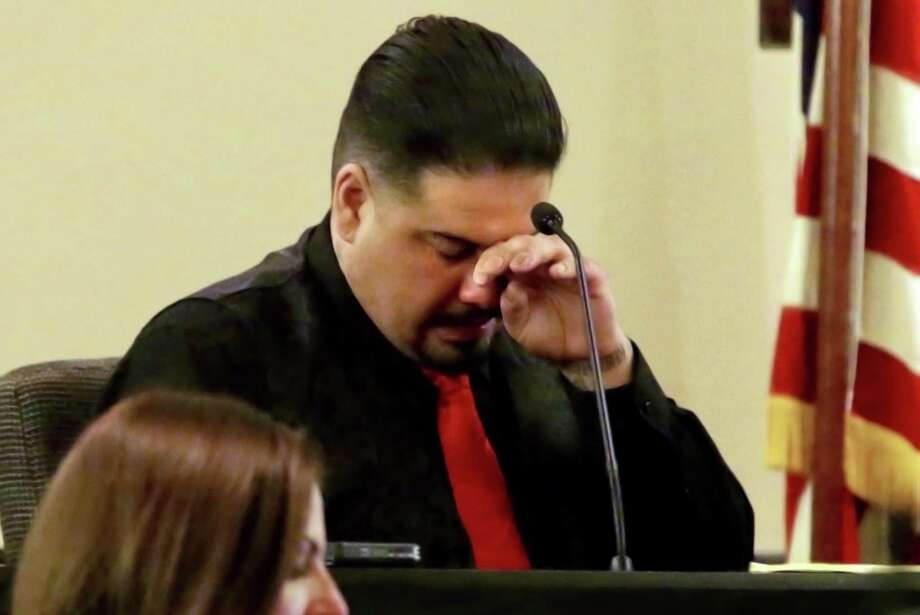 Gabriel Martinez wipes away tears as he takes the stand for the murder trial of Ortiz in the 379th state District Court, Judge Ron Rangel presiding in the Cadena-Reeves Justice Center on Tuesday, Feb. 12, 2019. Photo: Bob Owen, Staff / San Antonio Express-News / San Antonio Express-News