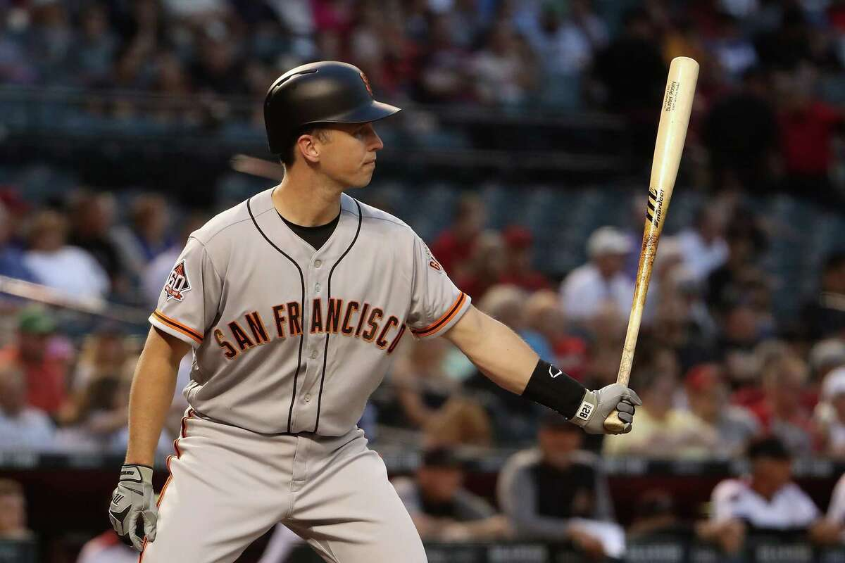 PHOENIX, AZ - APRIL 18: Buster Posey #28 of the San Francisco Giants bats against the Arizona Diamondbacks during the first inning of the MLB game at Chase Field on April 18, 2018 in Phoenix, Arizona. (Photo by Christian Petersen/Getty Images)
