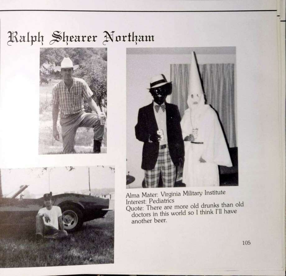 Ralph Northam's page in the 1984 yearbook of Eastern Virginia Medical School in which two people are wearing blackface and a KKK costume. MUST CREDIT: Obtained by The Washington Post Photo: Obtained By The Washington Post / Obtained By The Washington Post / Obtained by The Washington Post