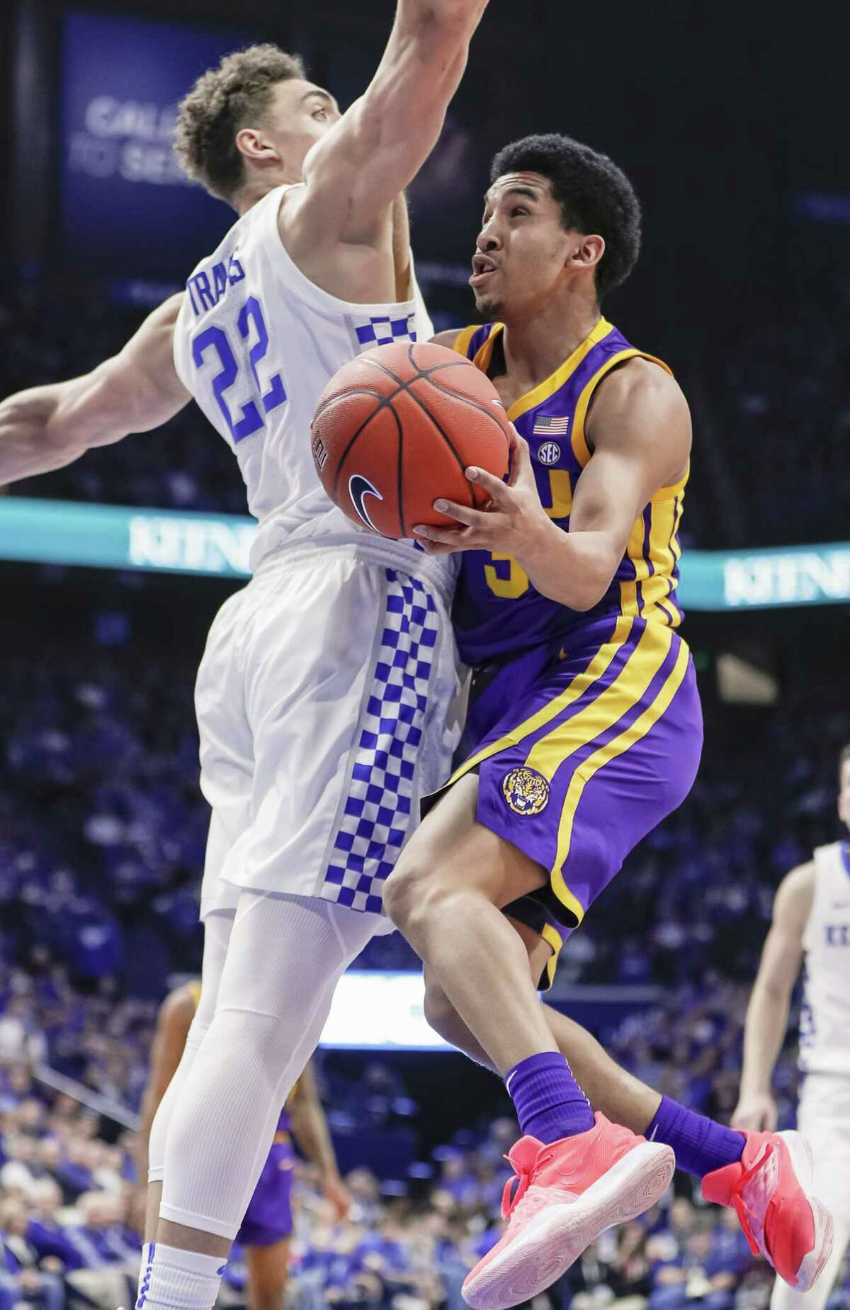 LEXINGTON, KY - FEBRUARY 12: Tremont Waters #3 of the LSU Tigers is defended by Reid Travis #22 of the Kentucky Wildcats during the first half at Rupp Arena on February 12, 2019 in Lexington, Kentucky. (Photo by Michael Hickey/Getty Images)