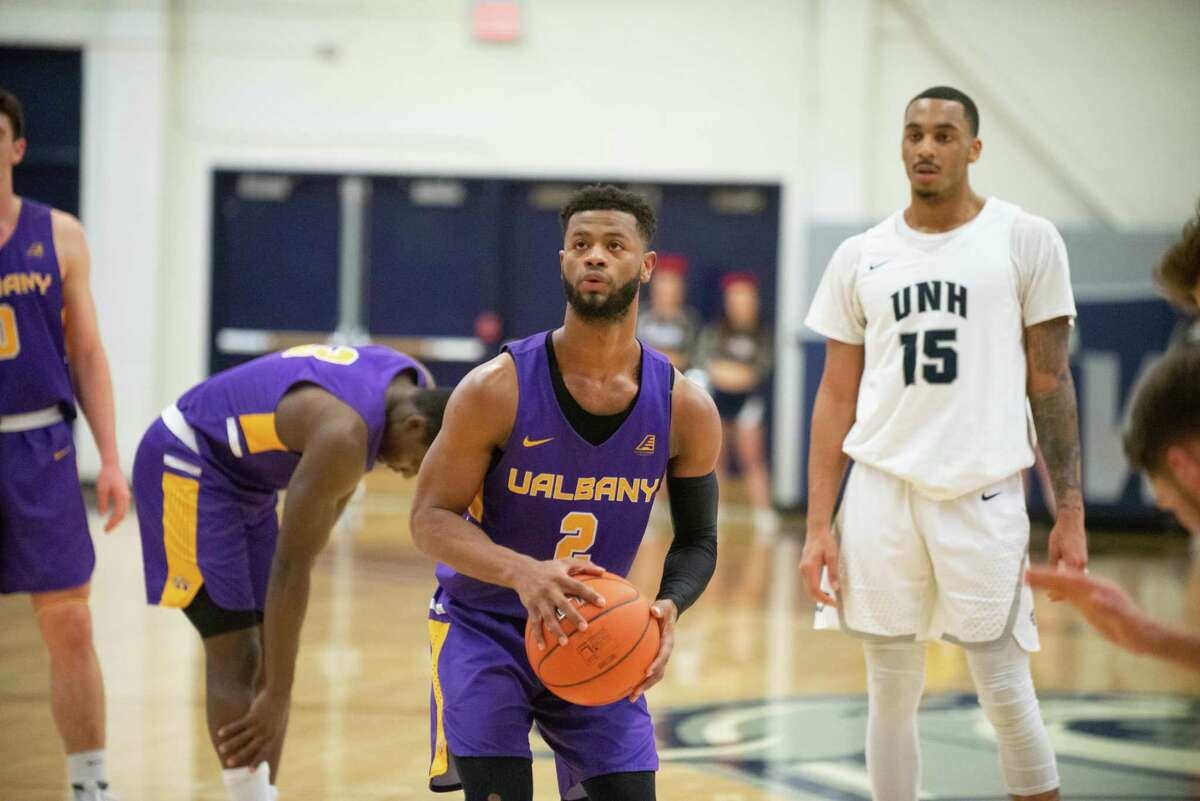 UAlbany Ahmad Clark prepares to shoot a free throw against host New Hampshire during their game on Wednesday, Jan. 30, 2019. (Meghan Murphy / UNH athletics)