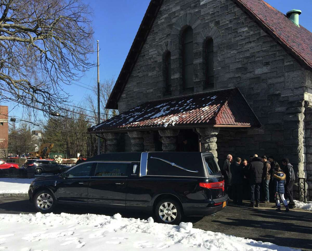 A hearse arrives at the funeral Mass for Valerie Reyes at St. Gabriel's Church, 120 Division St., New Rochelle on Wednesday.