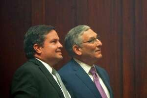 Senate Minority Leader Len Fasano of North Haven, right, watched election returns last year with Mike Cronin of West Hartford, his former top attorney and PAC treasurer who was recently arrested for larceny.