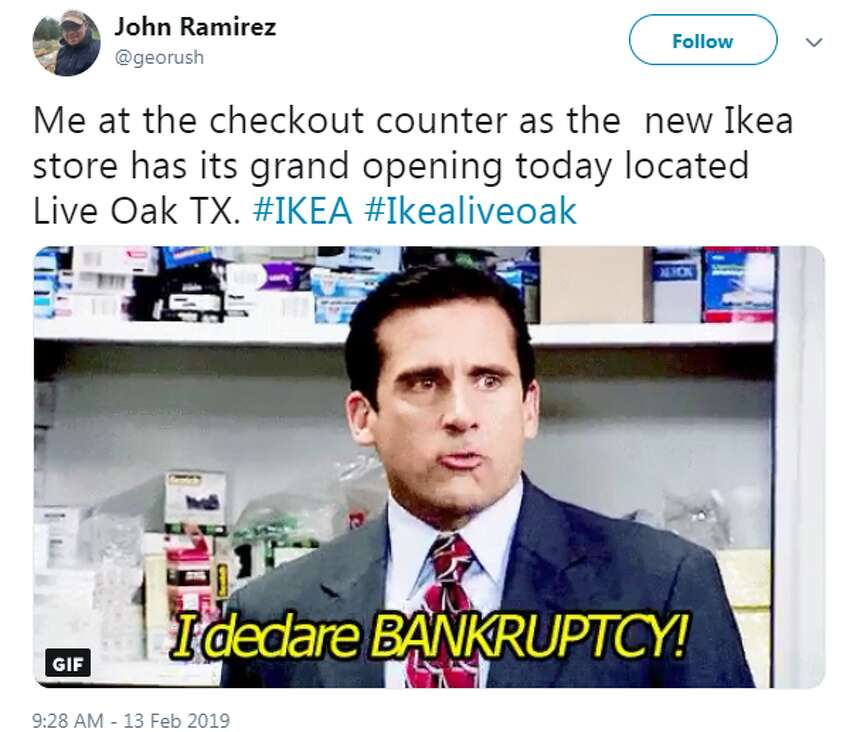 @georush: Me at the checkout counter as the new Ikea store has its grand opening today located Live Oak TX. #IKEA #Ikealiveoak