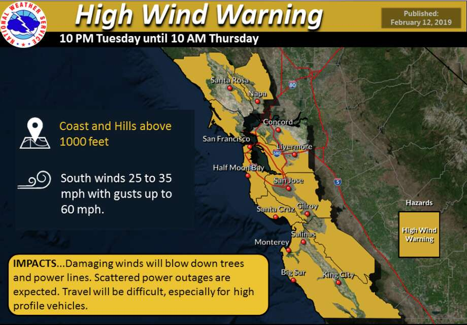 A high-wind warning is in effect for the coast and hills above 1000 feet and a less severe wind advisory for the interior valleys of the North and East Bay, the Santa Clara Valley, and the Salinas Valley. The warning is in effect through 10 a.m. Thursday. Photo: NWS
