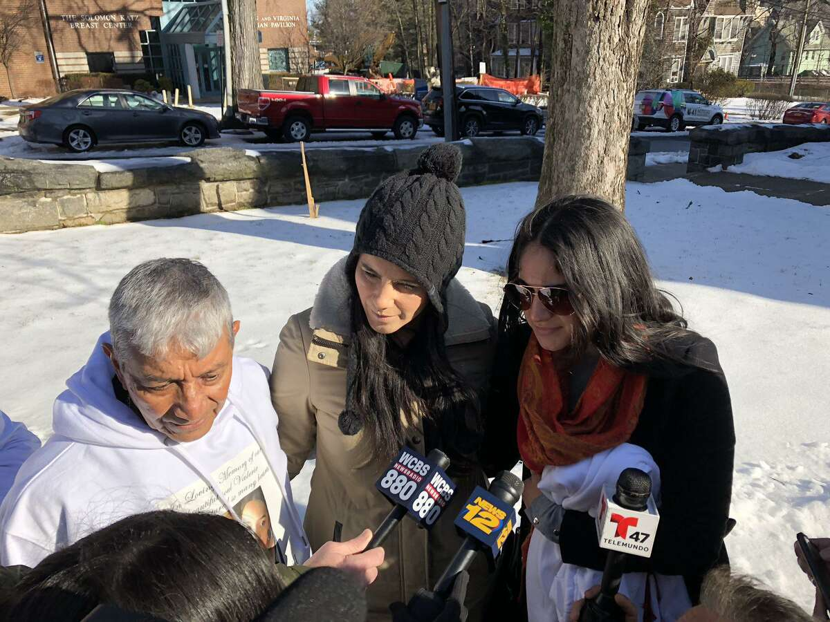 Jose Reyes, 73, speaks Wednesday outside St. Gabriel's Church in New Rochelle, N.Y., before the funeral for his slain granddaughter, Valerie Reyes. He traveled from Mexico to attend the services.