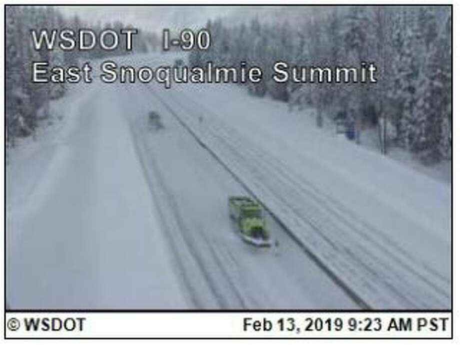 Snoqualmie Pass remained closed in both directions Wednesday morning. Eastbound lanes were set to reopen with metered traffic at 4 p.m. No time was set for westbound lanes to reopen. Photo: Courtesy WSDOT