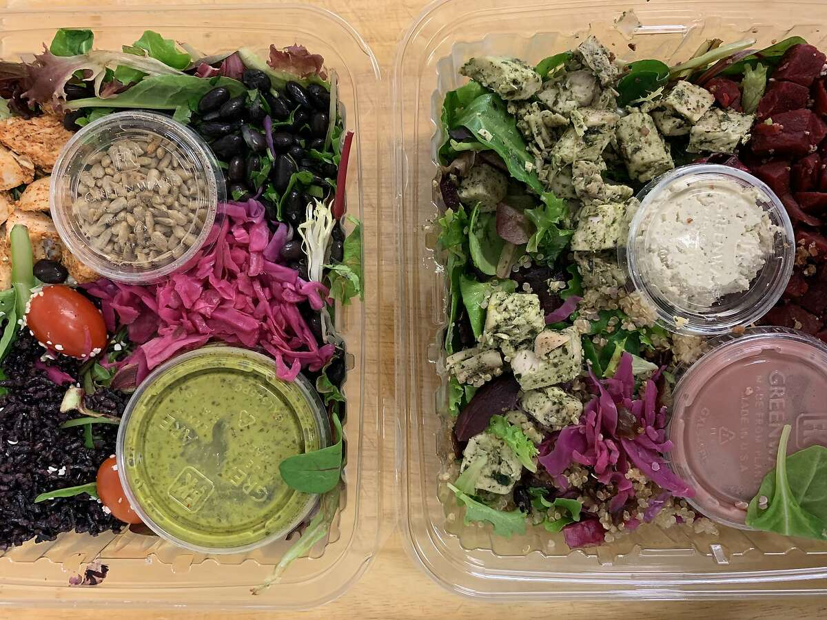 Two salads from prepared meal delivery service, Thistle.