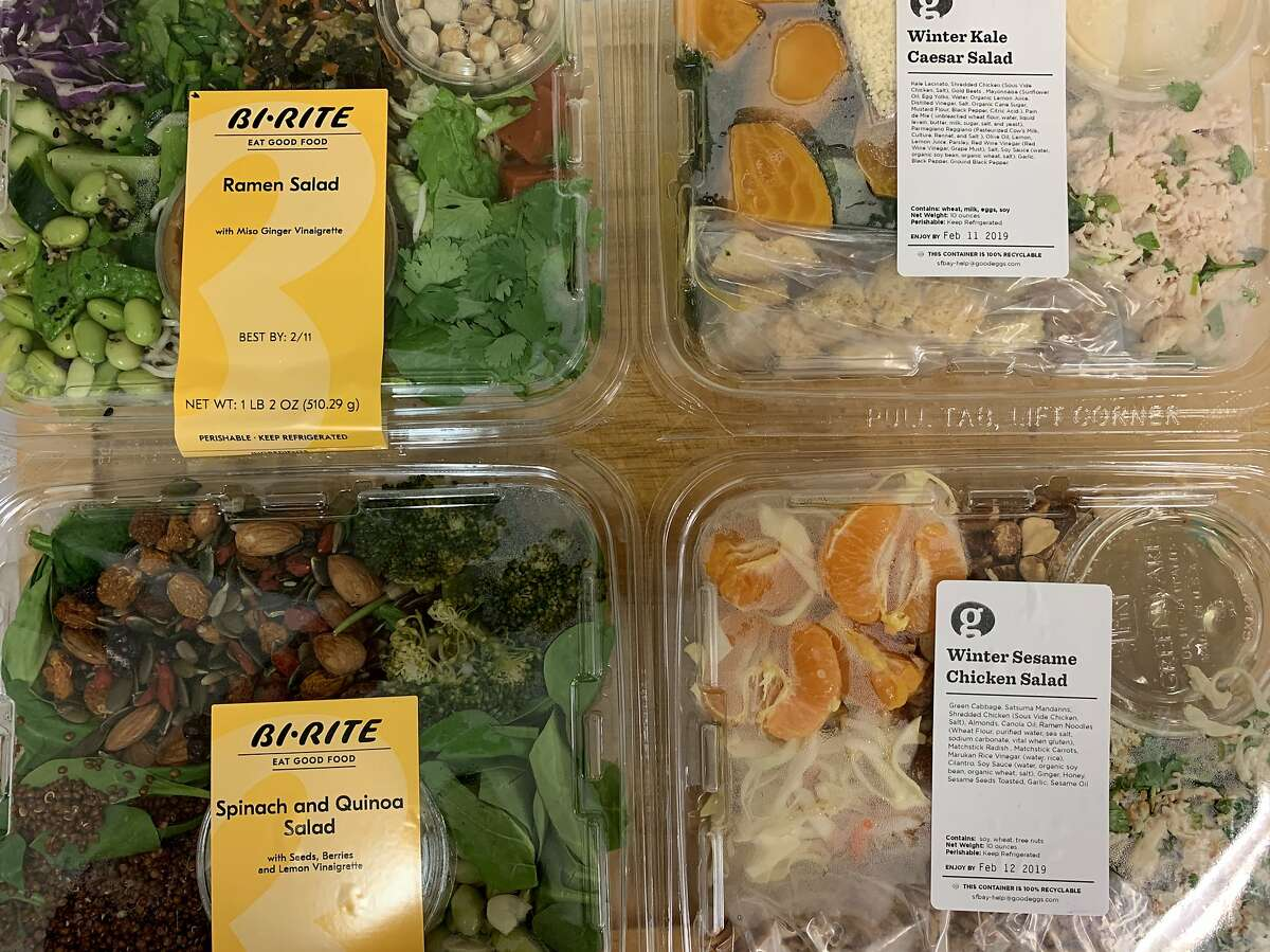 A selection of prepared salads available for delivery via Good Eggs and Bi-Rite Market (through Instacart).