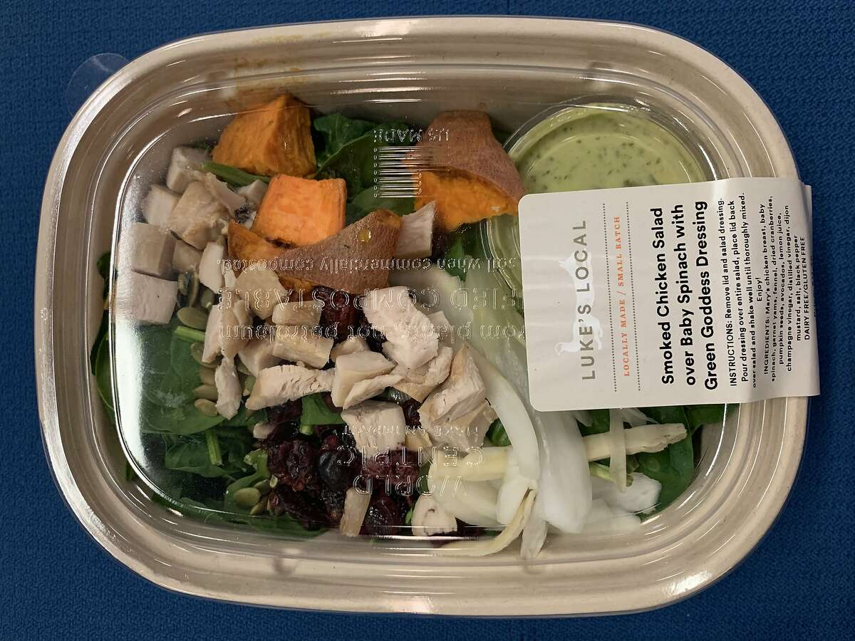 The smoked chicken salad with spinach and green goddess dressing from Luke's Local.