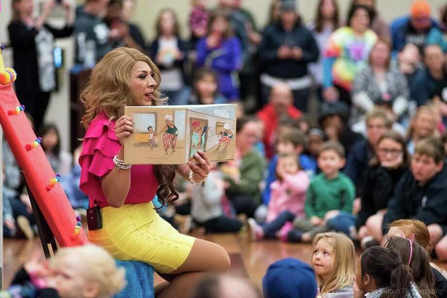 Despite protests, Drag Queen Story Hour was a big hit in Brentwood on Monday night. Photo: Courtesy Melissa Van Ruiten Photography
