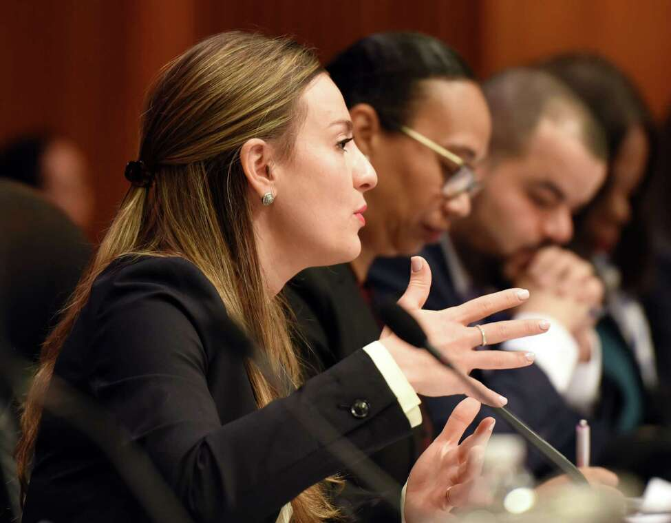 Senator Alessandra Biaggi asks NYS Department of Labor Commissioner Roberta Reardon a question during a joint public hearing on sexual harassment in the workplace on Wednesday, Feb. 13, 2019 at the Legislative Office Building in Albany, NY. (Phoebe Sheehan/Times Union)