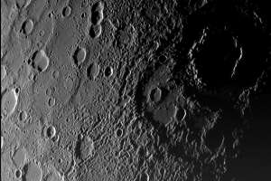 IN SPACE:  In this handout from NASA, the surface of Mercury is seen in a picture taken by NASA's Messenger spacecraft as it approached the planet January 14, 2008. The image was taken from about 11,000 miles from the planet and shows a region 300 miles across. Messenger will make two other passes by Mercury before settling into orbit around the planet closest to the Sun in 2011. (Photo by NASA/Johns Hopkins University Applied Physics Laboratory/Carnegie Institution of Washington via Getty Images)