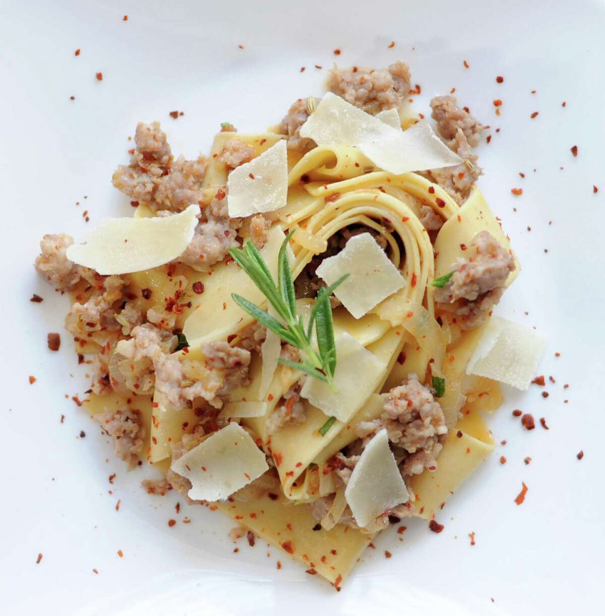 Pappardelle with sausage and rosemary