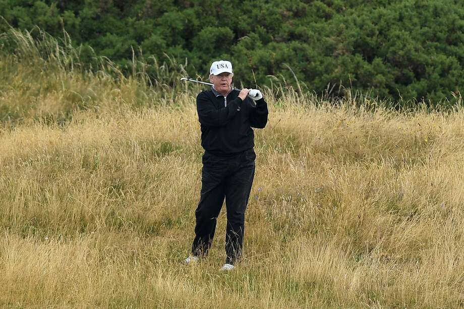 U.S. President Donald Trump plays a round of golf at Trump Turnberry Luxury Collection Resort during the U.S. President's first official visit to the United Kingdom on July 15, 2018 in Turnberry, Scotland. The President of the United States and First Lady, Melania Trump on their first official visit to the UK after yesterday's meetings with the Prime Minister and the Queen is in Scotland for private weekend stay at his Turnberry.  (Photo by Leon Neal/Getty Images) Photo: Leon Neal/Getty Images