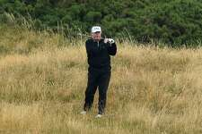 U.S. President Donald Trump plays a round of golf at Trump Turnberry Luxury Collection Resort during the U.S. President's first official visit to the United Kingdom on July 15, 2018 in Turnberry, Scotland. The President of the United States and First Lady, Melania Trump on their first official visit to the UK after yesterday's meetings with the Prime Minister and the Queen is in Scotland for private weekend stay at his Turnberry. (Photo by Leon Neal/Getty Images)