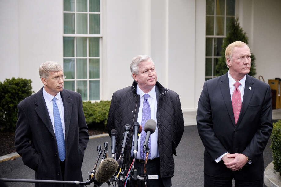 From left: Dan Poneman, of Centrus Energy Group; Chris Crane, chief executive officer of Exelon Corp.; and John Hopkins, president of NuScale, at the White House in Washington on Feb. 12, 2019. Photo: Bloomberg Photo By T.J. Kirkpatrick. / © 2019 Bloomberg Finance LP