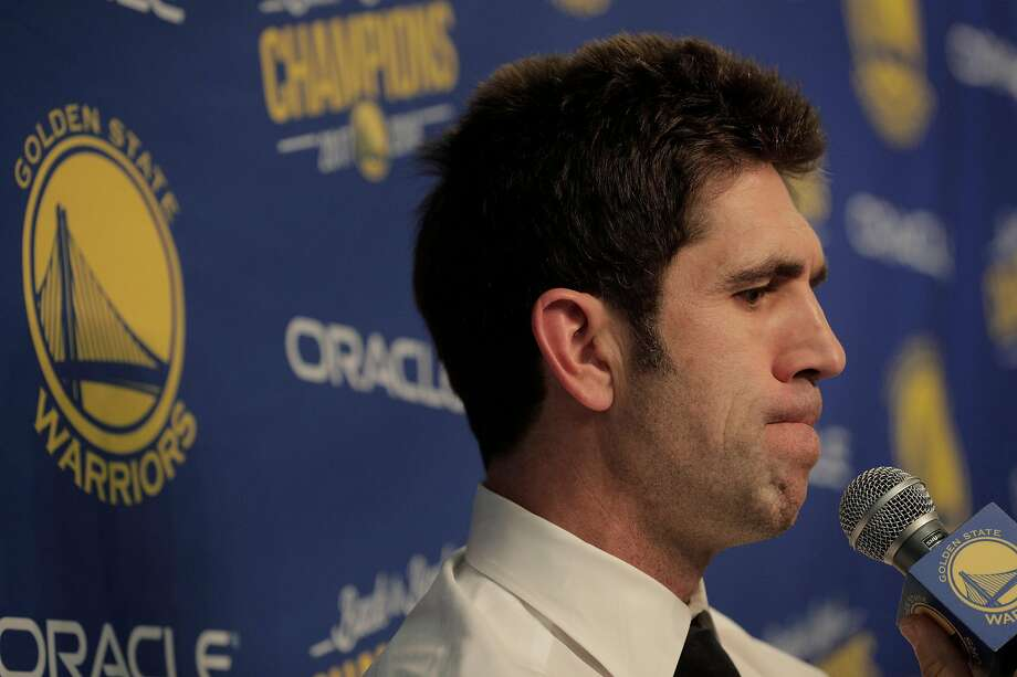 Warriors General Manager Bob Myers listens to a question as he speaks to the press about the suspension of Draymond Green before the team's game against the Atlanta Hawks at Oracle Arena in Oakland, Calif., on Tuesday, November 13, 2018. Photo: Carlos Avila Gonzalez / The Chronicle