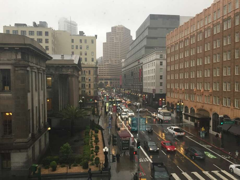 Fifth Street near Mission Street in Downtown San Francisco at 11 a.m. on Feb. 13, 2019, amid an atmospheric river event. Photo: Amy Graff