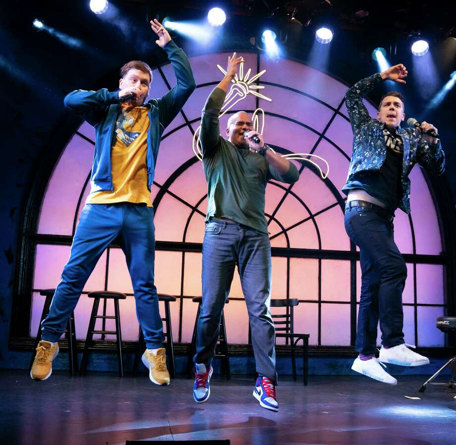"From left: Chris Sullivan, Christopher Jackson and Anthony Veneziale in ""Freestyle Love Supreme"" at the Greenwich House Theater in New York, Feb. 4, 2019. ""Freestyle Love Supreme"" is a mostly improvised hip-hop musical, where stories and props are borrowed from the audience. (Sara Krulwich/The New York Times) Photo: SARA KRULWICH / NYTNS"