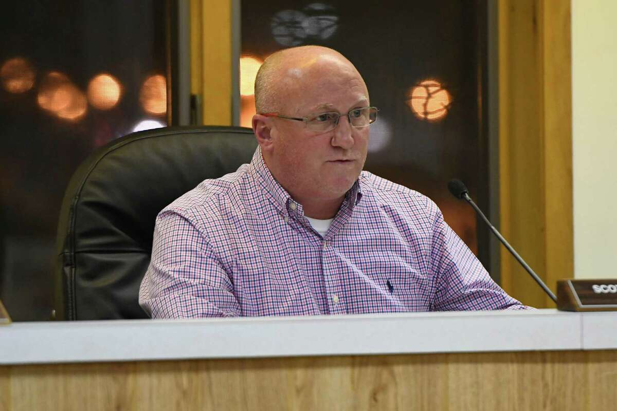 Milton Town Supervisor Scott Ostrander speaks during a town meeting held at the town hall on Wednesday, Jan. 30, 2019 in Milton, N.Y. (Jenn March, Special to the Times Union)
