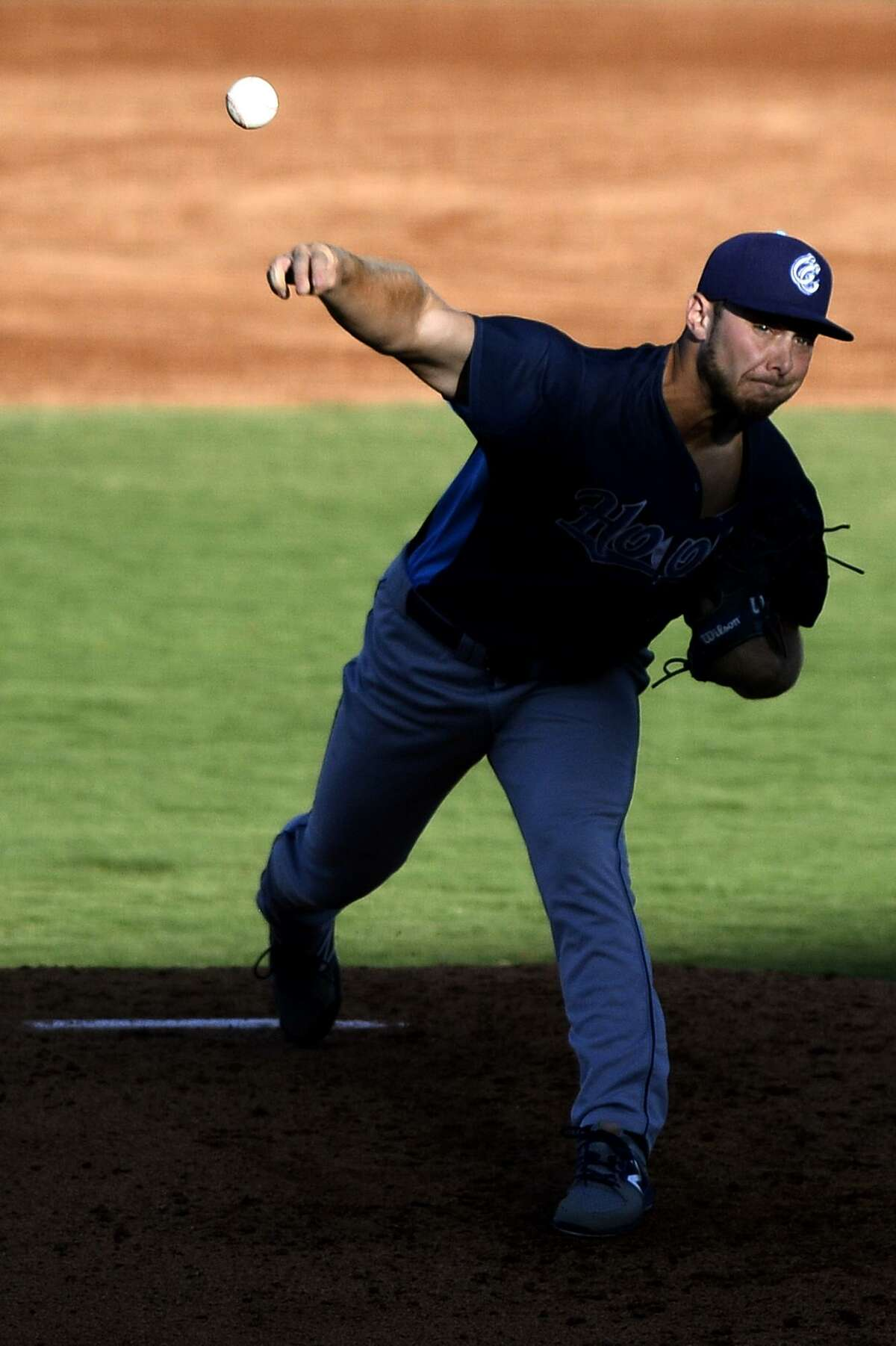 Corpus Christi starting pitcher Corbin Martin throws against the RockHounds June 15, 2018, at Security Bank Ballpark.
