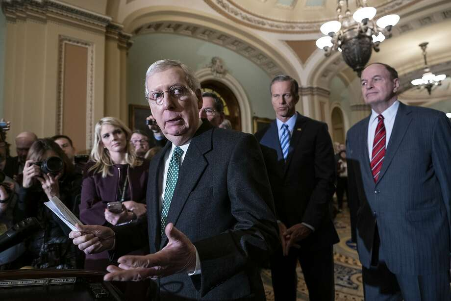Senate Majority Leader Mitch McConnell joined other GOP leaders in selling the deal as a necessary compromise. Photo: J. Scott Applewhite / Associated Press