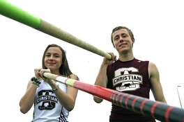 San Antonio Christian brother/sister pole vaulters Adam and Abigail Craig defending TAPPS Class 5A state champions in pole vault on Monday, February 11, 2019.
