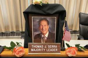 Tom Serra's chair in Council Chambers.