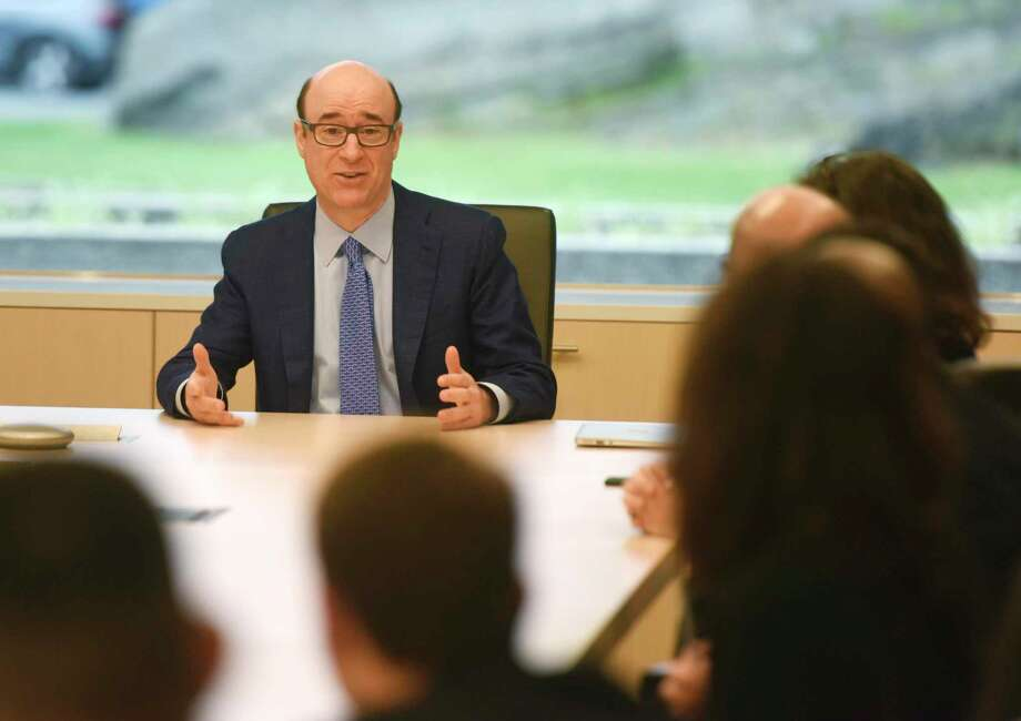 XPO Logistics CEO and Chairman Bradley Jacobs speaks during a meeting at the company's headquarters in Greenwich, Conn., on July 25, 2017. Photo: Tyler Sizemore / Hearst Connecticut Media / Greenwich Time