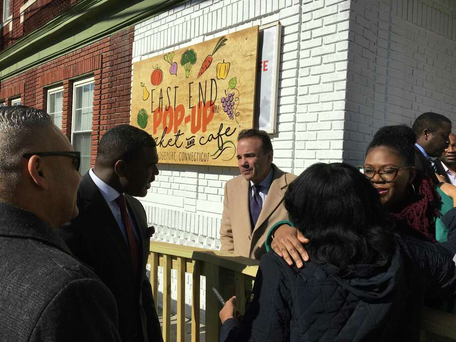 Bridgeport Mayor Joe Ganim was among hundreds on Wednesday celebrating a $250,000 grant from the Aetna Foundation to support fresh produce at the East End Pop-Up Market & Cafe. Photo: Ken Dixon Photo