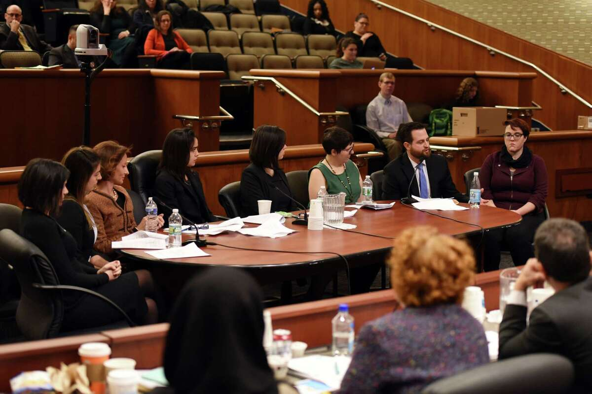 Former legislative employees and survivors of sexual harassment, speak during a joint public hearing on sexual harassment in the workplace on Wednesday, Feb. 13, 2019 at the Legislative Office Building in Albany, NY. (Phoebe Sheehan/Times Union)