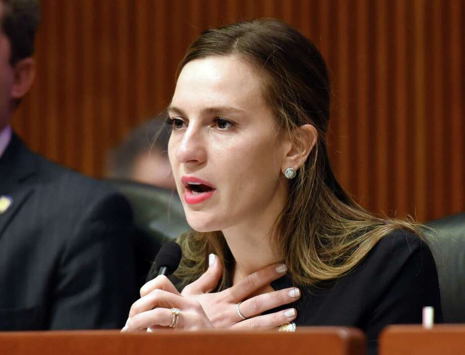 Senator Alessandra Biaggi thanks the survivors for speaking up during a joint public hearing on sexual harassment in the workplace on Wednesday, Feb. 13, 2019 at the Legislative Office Building in Albany, NY. (Phoebe Sheehan/Times Union) Photo: Phoebe Sheehan, Albany Times Union / 40046183A