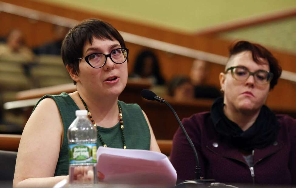 Former legislative employee Eliyanna Kaiser describes her story of sexual harassment during a joint public hearing on sexual harassment in the workplace on Wednesday, Feb. 13, 2019 at the Legislative Office Building in Albany, NY. (Phoebe Sheehan/Times Union)