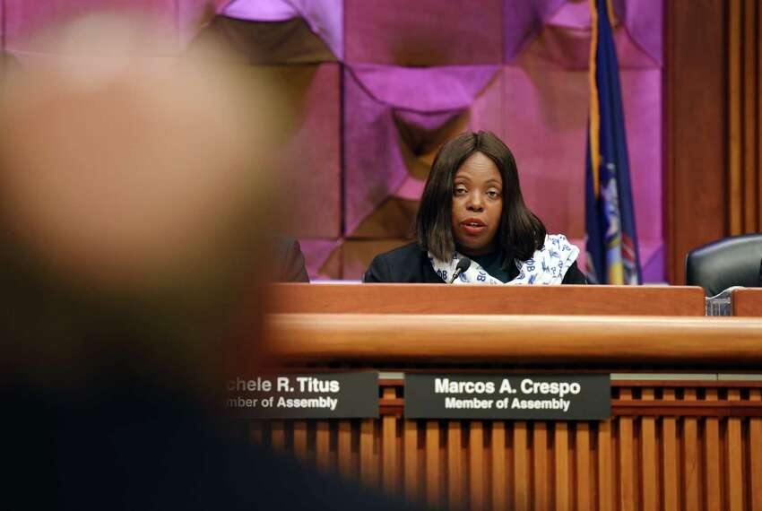 Assemblymember Latrice Walker asks EEOC NY District Director Kevin Berry a question during a joint public hearing on sexual harassment in the workplace on Wednesday, Feb. 13, 2019 at the Legislative Office Building in Albany, NY. (Phoebe Sheehan/Times Union)