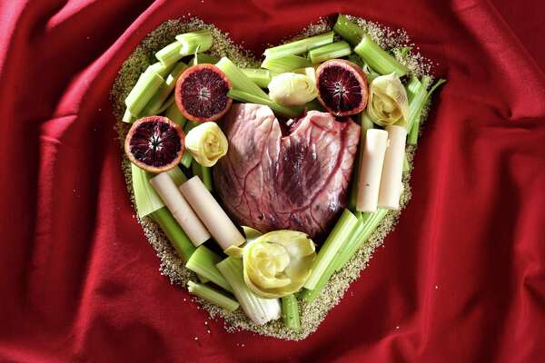 Beef heart Valentine illustration with artichoke, palm and celery hearts on Monday, Feb. 11, 2019, at the Times Union in Colonie, N.Y. (Will Waldron/Times Union)