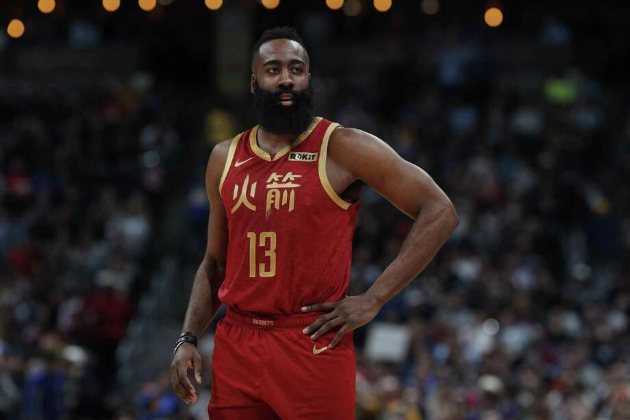 Houston Rockets guard James Harden (13) in the second half of an NBA basketball game Friday, Feb. 1, 2019, in Denver. The Nuggets won 136-122. Photo: David Zalubowski, STF / Associated Press / Copyright 2019 The Associated Press. All rights reserved.