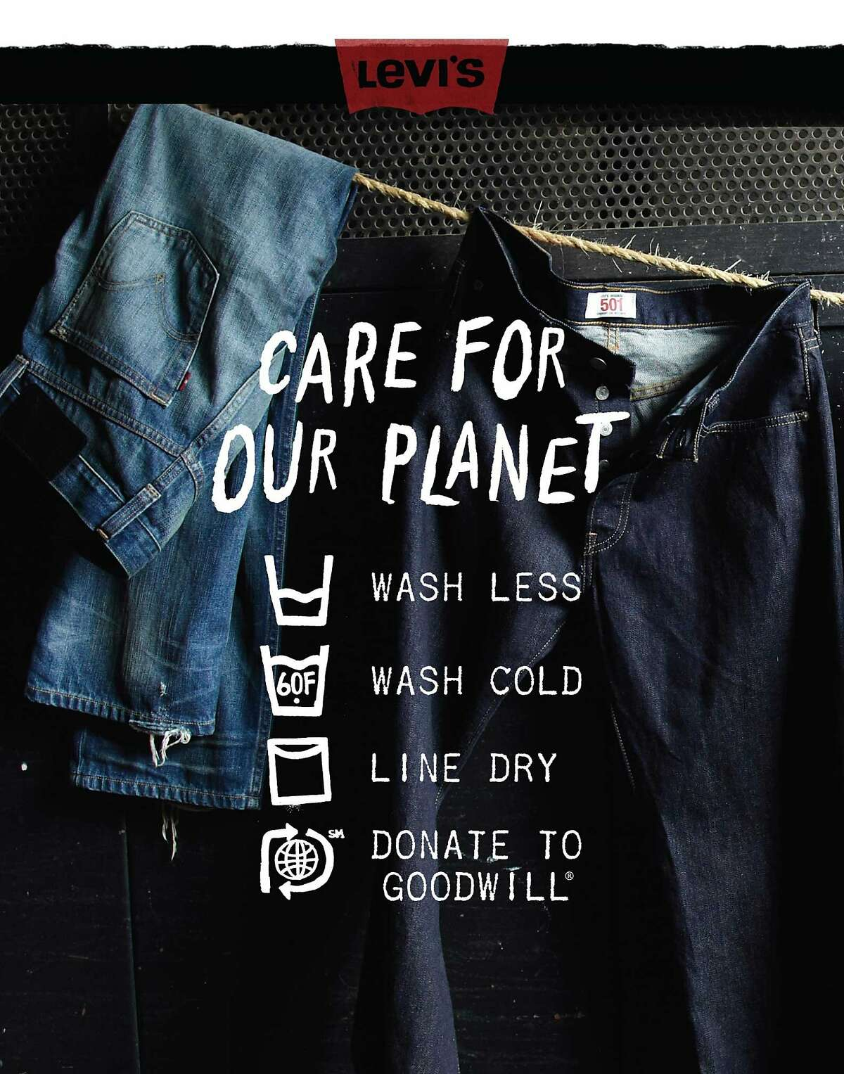 Levi's hang tag spells out its commitment to sustainability and cutting down fashion's impact on the environment.